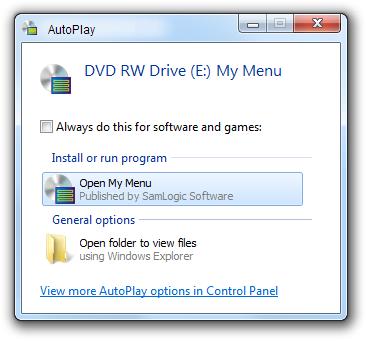 The AutoPlay window