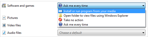 Install or run program from your media