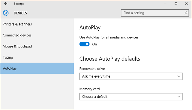 Settings - AutoPlay