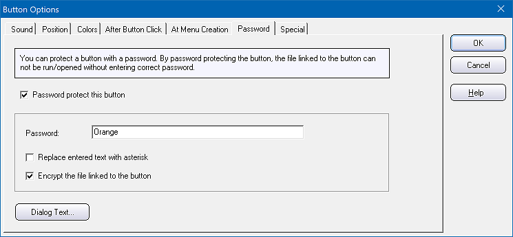 The 'Password' tab in the 'Button Options' dialog box