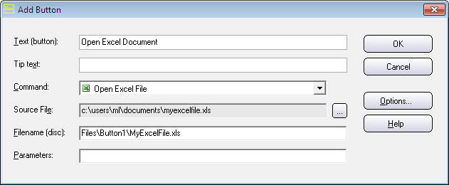 There is a new button command in CD-Menu Creator with the name 'Open Excel File'