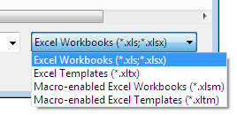 You can open different kind of Excel files with the new button command