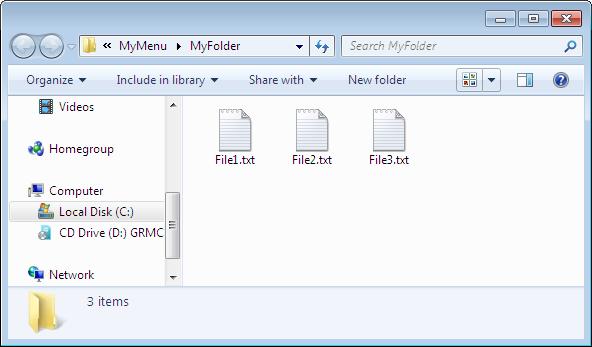 The MyFolder folder opened