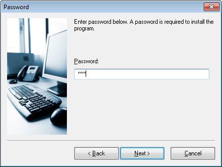 The Password setup dialog box