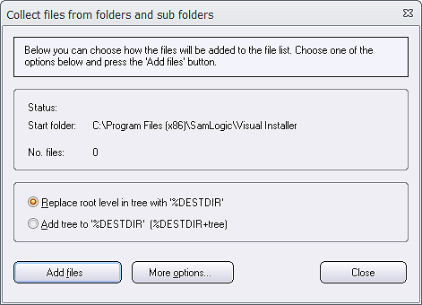 Collect files from folders and sub folders