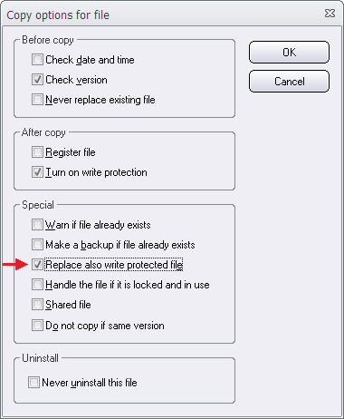 The 'Copy Options' dialog box (2)