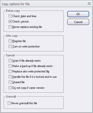 Dialog box - Copy options for file