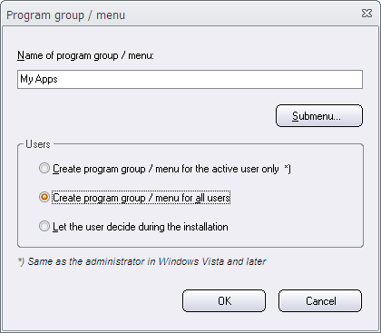 Program group / Menu