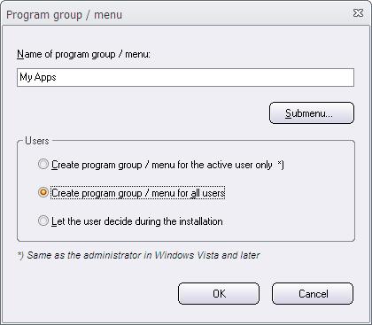 Program group / Menu
