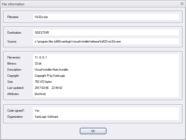 The File information window in Visual Installer