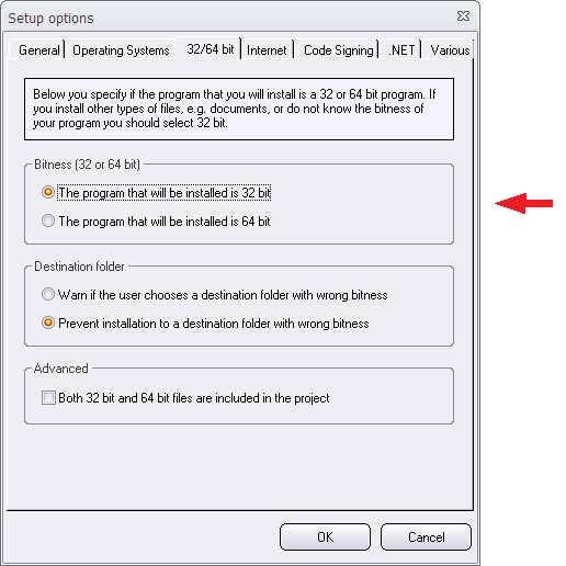 The Setup options dialog box