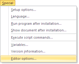 Special - Editor options