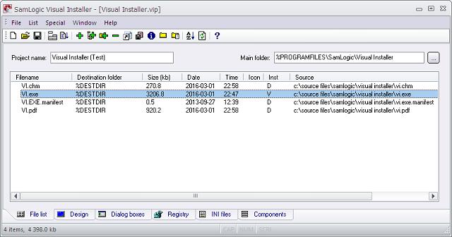 Visual Installer editor