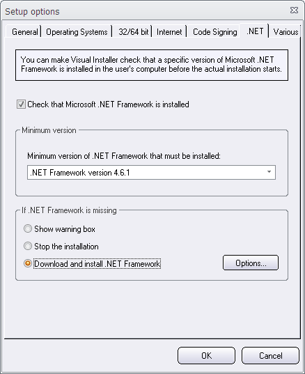 Setup Options - .NET