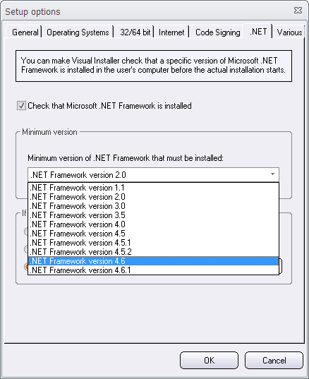 More available versions of .NET Framework
