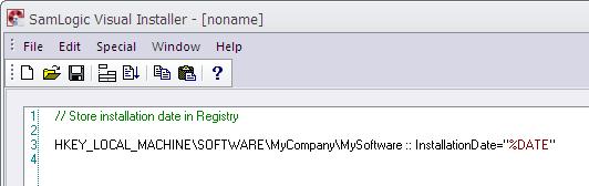 The 'Registry' tab in Visual Installer