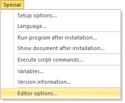 The Editor options menu option