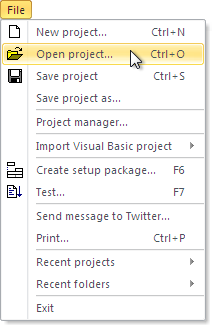 File - Open project