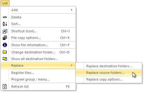 List - Replace - Replace source folders