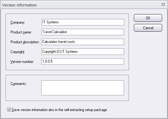 The 'Version information' dialog box in Visual Installer
