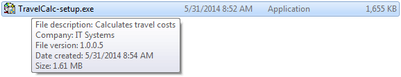 Tip text in Windows Explorer (with version information)