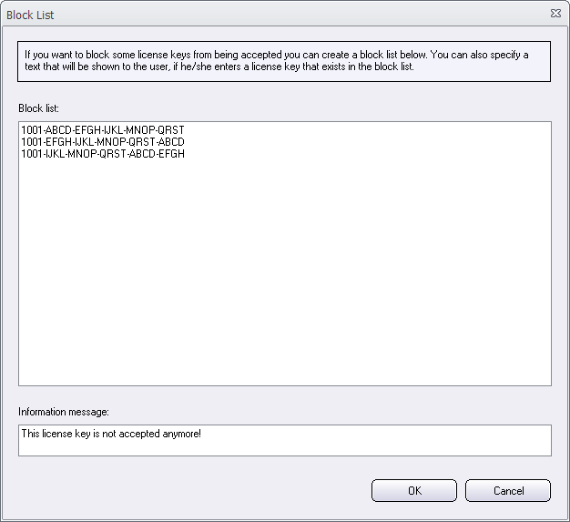 The 'Block List' dialog box in Visual Installer