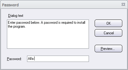 The Password dialog box
