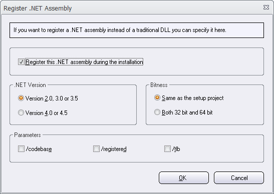 The 'Register .NET Assembly' dialog box