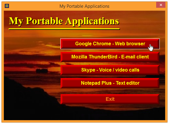 AutoRun menu for portable applications