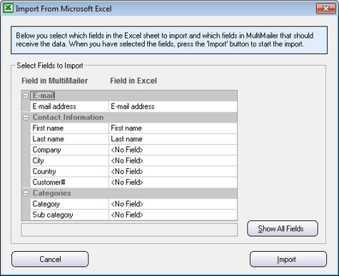SamLogic MultiMailer - Import of data from Microsoft Excel