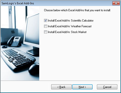 User set up dialog box
