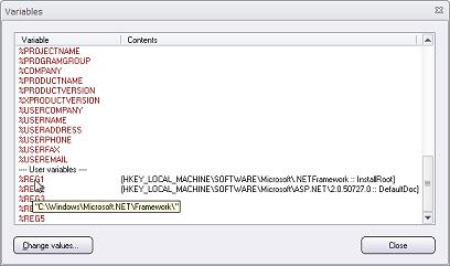 The Variables dialog box in Visual Installer