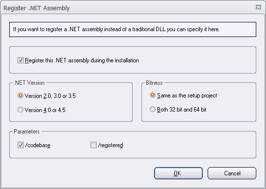 The 'Register .NET assembly' dialog box
