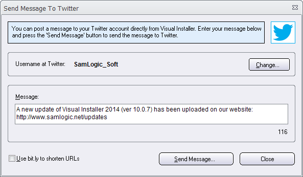 Visual Installer now supports Twitter