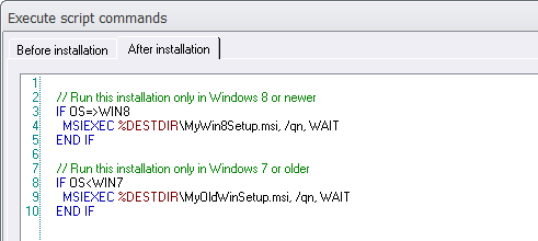 How to run an MSI installation from script (Visual Installer